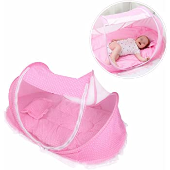 Toddler Crib Mattress,Infant Pop Up Portable Baby Travel bed With Mosquito Net Pad ,Outdoor Travel beach tent Crib Bed Protection Sun Shelter Shade for Kids(Pink)