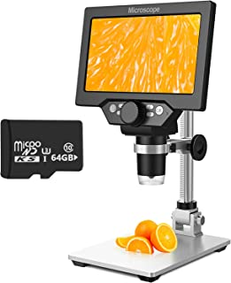 7 Inch LCD Digital Microscope with 64GB TF Card, 1200x Magnification, 12MP Ultra-Precise Focusing Camera 1080P Video Micro...