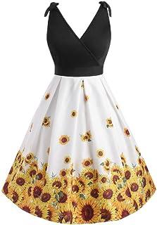 YYLZA Sunflower Print Women Vintage Dress High Waist Patchwork A Line Party Dress Retro