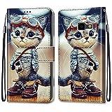 i-Hülle Handy Schutzhülle Kompatibel für Samsung J4+ Handyhülle PU Lederhülle Brieftasche BookStyle Etui Handytasche Wallet Kartenfach Flip Tasche für Samsung Galaxy J4 Core/J4+,Abenteuer Katze