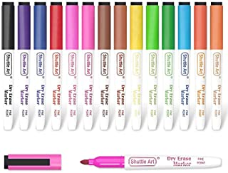 Dry Erase Markers, Shuttle Art 15 Colors Magnetic Whiteboard Markers with Erase,Fine Point Dry Erase Markers Perfect For W...