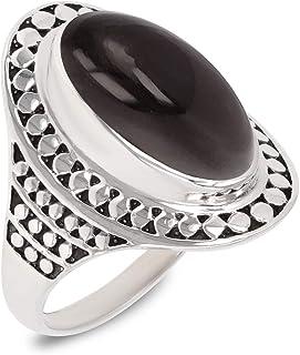 Aden's Jewels - Bague- Pierre d'obsidienne-Argent Massif-Femme-Noir
