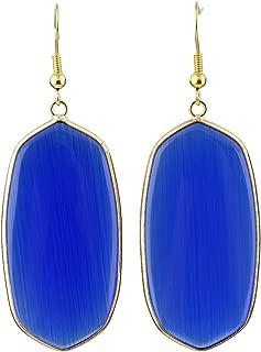 Women's Stone Crystal Dangle Drop Earrings, Oval Shape