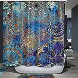 QCWN Rideau de douche motif floral et arbre de vie Mandala pour décoration apaisante de salle de bain - yl43, Polyester, bleu, 70Wx70L