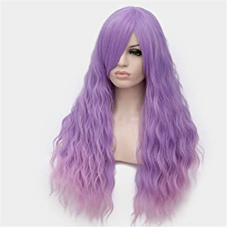 Hairpieces 24 Inch Long Cosplay Wig With Bangs Curly Purple Green Pink Blue Golden Brown Wig 12 Colors Heat-Resistant Synt...
