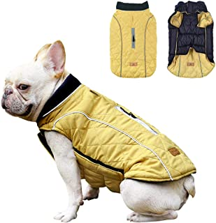 Dog Coat Winter Reversible Pet Jacket Waterproof Windproof Dog Sweater Reflective Strips Warm Puppy Vest for Small Medium Large Dogs S-XXL