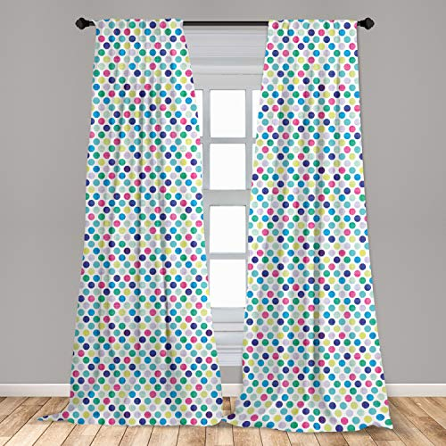 """Lunarable Colorful 2 Panel Curtain Set, Traditional Polka Dot Design in Multicolor Geometric Circles Contrasting Colors, Lightweight Window Treatment Living Room Bedroom Decor, 56"""" x 95"""", Pink Blue"""