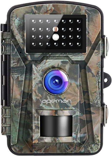 APEMAN Cámara de Caza 12MP 1080P IP66 Impermeable 24 LED de IR Invisible 2.4  LCD Visión Nocturna hasta 20m para Fauna Seguridad Hogar Mascota Animal