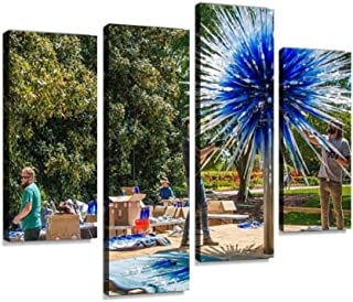 Canvas Wall Art Painting Pictures Installing a Glass Sculpture for The Exhibition Modern Artwork Framed Posters for Living Room Ready to Hang Home Decor 4PANEL