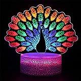 ZGDDPZA Luz de Noche Visual 3D Cambio Color Pavo Real Control Remoto Dinámico Smart Touch Lámpara Regalo Creativa Lámpara Cabecera Lámpara Mesa LED Dormitorio Decoración Hogar Regalo para Niños