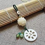 Fliyeong Llavero de estilo chino colgante de Lotus Key borla joyería colgante colección conmemoración creativo y útil