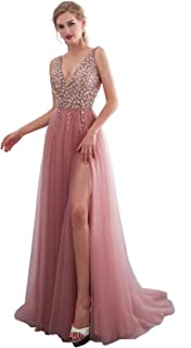 aaa83644110 iLovewedding Prom Dresses High Slit V Neck Sequins Tulle Long Evening Gowns