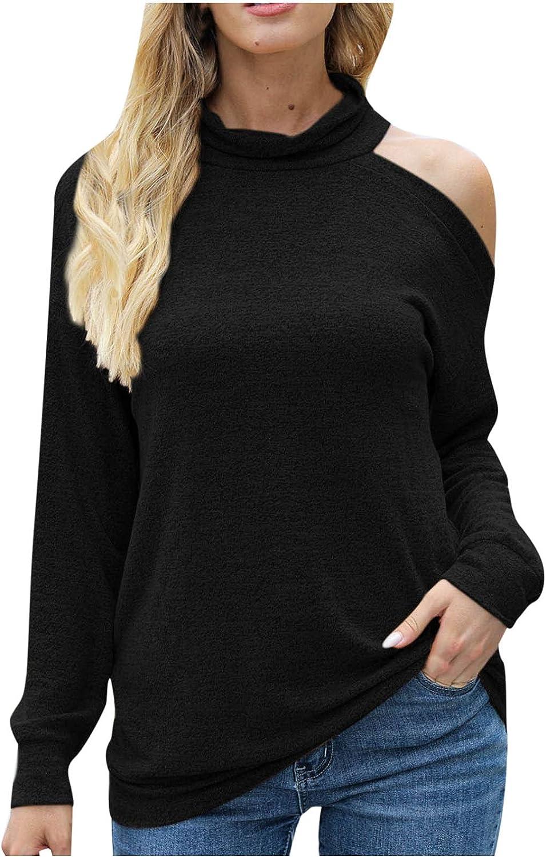 Afelkas Crewneck Sweatshirts Solid Color Bottomshirt Sexy Off-Shoulder Pullover Turtleneck Long Sleeve Slim Sweater