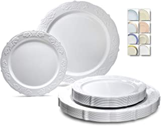 """"""" OCCASIONS"""" 50 Plates Pack (25 Guests)-Vintage Wedding Party Disposable Plastic Plate Set -25 x 10.25`` Dinner + 25 x 7.5..."""