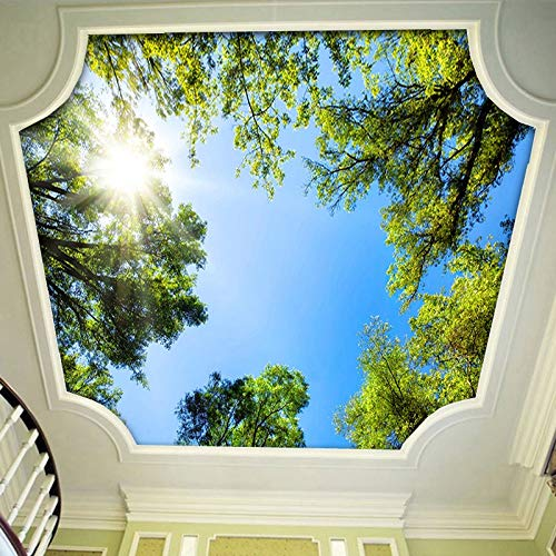 Wandbild, Tapete, 3D-Wandbild, Tapete, Landschaft, Himmel, Deckenbild, Tapete, Sonnenlicht, Grün, Wald, Hotel, Restaurant, Wohnzimmer