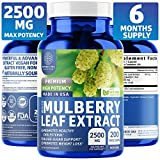 N1N White Mulberry Leaf Extract, [100% Pure, 6M's Supply], Premium Blood Sugar Control. Weight Loss, Appetite, Sugar & Carb Cravings Support, High Potency, Non-GMO, Gluten Free, (2500mg, 200 Veg Caps)