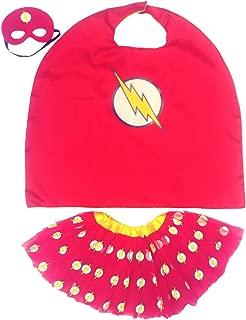 Girl Superhero Cape Costume Set - Lightening Bolt Tutu and Mask Age 4-10 Red