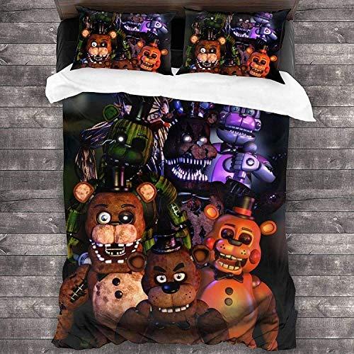 QWAS Cinco noches en Freddy's Juego de funda nórdica de tres piezas, funda de cama infantil, ropa de cama 3D con dibujos animados (A1, 140 x 210 cm + 50 x 75 cm x 2)