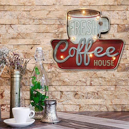 Señales luminosas Lámpara de Cafetería FSVEYL,Estilo Industrial Antiguo Con Artesanía de Pintura de Hierro,Apto Para Decoración de Paredes en Bares,Casas, Cocinas,AlimentadoPor Baterías (Fresh coffee)