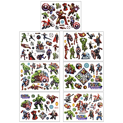 DEORAIO 8 Sheets Marvel Avengers Temporary Tattoos for Kids Super Hero Party Supplies Set Fake Tattoos Art Craft for Boys Girls School Rewards Birthday Gifts Water Bottle Decor