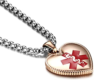 Stainless Steel Heart-Shaped Medical Alert ID Necklace for Women Custom Engraving, 20-24 inches-Silver