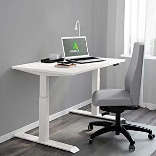 AdvanceUp Electric Stand Up Desk Frame Workstation, White, Dual Motor Ergonomic Standing Height Adjustable Base, Desk Frame & Table Top Bundle