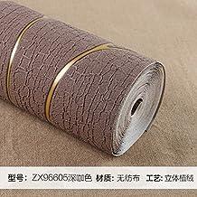 Reyqing moderne minimaliste papier peint intissé, 3d, possibilité téléviseur, fond, papier mural, salon, chambre à coucher papier peint, Zx96605Brun Profond, papier peint seulement