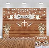 Rustic Wooden Board Sparkle Bokeh God Bless Photography Backdrop First Holy Communion Baptism Decorations Floral Baby Christening Photo Background Party Banner Supplies 5x3ft Vinyl