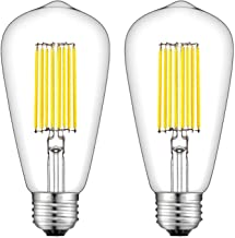 CRLight 12W Dimmable 4000K LED Edison Bulb Daylight White, 120W Equivalent 1200 Lumens, E26 Base Antique ST64 Clear Glass High Brightness LED Filament Bulbs, Smooth Dimming Version, 2 Pack