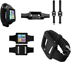 PiGGyB Groovy Silicone Watch Band Case Cover for Apple iPod Nano 6 6th Generation (Black)
