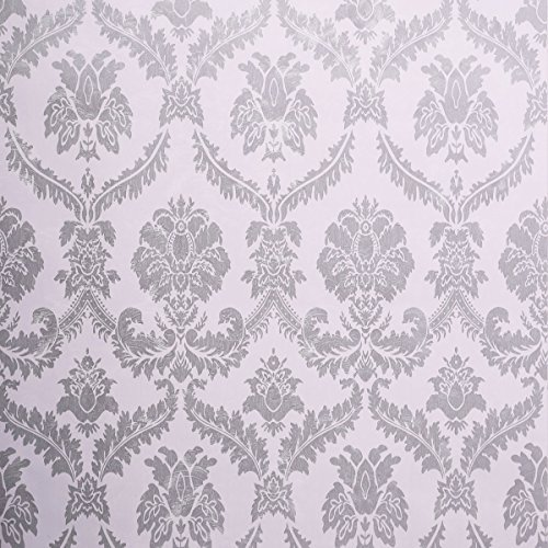 Sicohome Wallpaper 11 Yard Damask Silver Peel And Stick Wallpaper Buy Online In Cayman Islands Sicohome Products In Cayman Islands See Prices Reviews And Free Delivery Over Ci 60 Desertcart