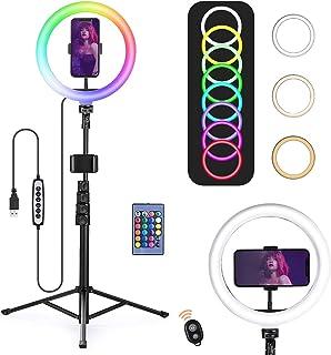 """OneAmg Aro de Luz para Movil TIK Tok, 10.2"""" RGB Anillo de luz LED con Trípode Soporte, 15 Colores RGB y 3 Modos Normales y..."""