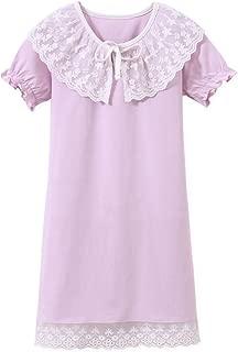 AOSKERA Girls' Lace Nightgowns Cotton Sleepwear Puff Sleeve Sleep Shirt for 3-12 Years