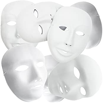 MICHLEY Full Face Party Mask White Cosplay Masks in Dancing Party (12pcs boys/female+12pcs girls)