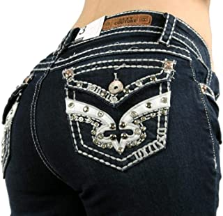 6a85979ef14 SEXY COUTURE Women s S478-PB Distressed Ripped Revival Rhinestone Dark Wash Mid  Rise Boot Cut