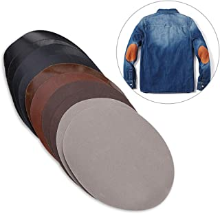 Greensen 10pcs Iron On Fabric Patches for Clothes, DIY Elbow Knee Repair Patches for Pants Jeans Shirts Jacket, Oval Shape PU Leather Patch Repair Kit Kids Adult, 2 Pcs Per Colors