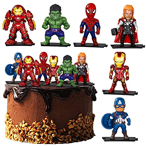 Cake Decorazione,Hilloly Ornamenti per Supereroe,Decorazione per torta di compleanno per bambini,Decorazione per Torta dei Avengers - 6 pezzi