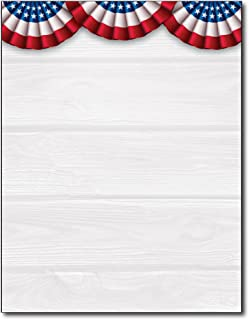 Patriotic Banners American Stationery Paper - 80 Sheets - Perfect for 4th of July, Veteran's Day, Memorial Day, and other patriotic holidays!