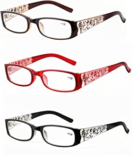 Qi Song Carving Flowers Print Women Reading Glasses+1.0+1.5+2.0+2.5+3.0+3.5
