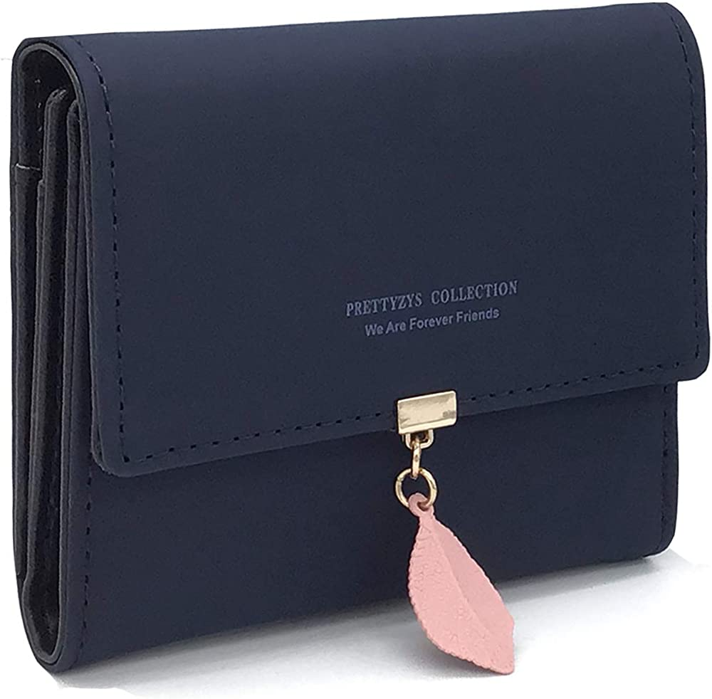 Charltu portafoglio da donna porta carte di credito in similpelle blu zaffiro
