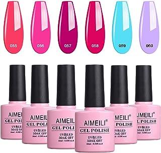 AIMEILI Soak Off Gel Nail Polish Set, Summer Color Neon Pink Hot Pink Orange Purple Blue Color Gel Set Of 6pcs X 10ml - Ki...