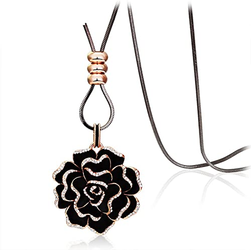 Mode Kristall Rosan lange Halskette Retro Zubeh Halskette im Herbst und Winter  Halskette