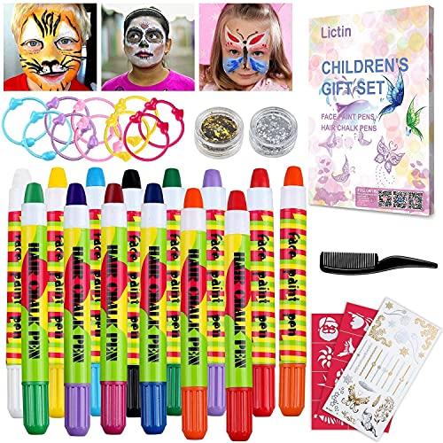 Lictin Pintura de Cara para Niños-Pintura Facial de 8 Colores, 6 Tintes para Cabello, 2...
