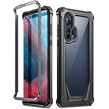 Poetic Guardian Series Case Designed for Moto Edge+ Case, Moto Edge Plus Case, Full-Body Hybrid Shockproof Bumper Cover Without Built-in-Screen Protector, Black/Clear