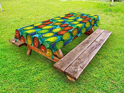 ABAKUHAUS Abstract Tafelkleed voor Buitengebruik, Rose Flowers Batik Art, Decoratief Wasbaar Tafelkleed voor Picknicktafel, 58 x 120 cm, Veelkleurig