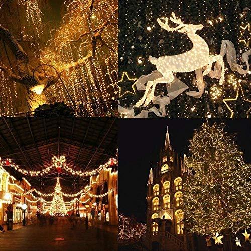 WARRT Arbol de Navidad Al Aire Libre Navidad Led Luces De Cuerda Hadas Luz Luces De Vacaciones Luces De Iluminación Árbol Guirnalda 20M 200LEDs 220V UE Blanco cálido