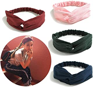 Tidalle Stretchy Headbands Crochet Cotton Hair Accessories Women Wraps Turban Knotted Scrunchies (4 pack red pink green navy blue)