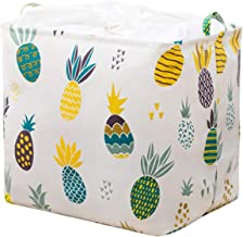 HROUEN Drawstring Waterproof Dustproof Storage Basket Large Capacity Sturdy & Foldable Cotton Linen Canvas Storage Bin for...