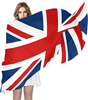 LORVIES UK British Flag Silk Scarf Lightweight Long Scarf Shawl Wrap for Women