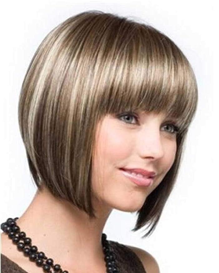 モザイク十分です集団本物の髪のかつらとしてかつら女性の短いストレートゴールデンブロンドの髪のかつら